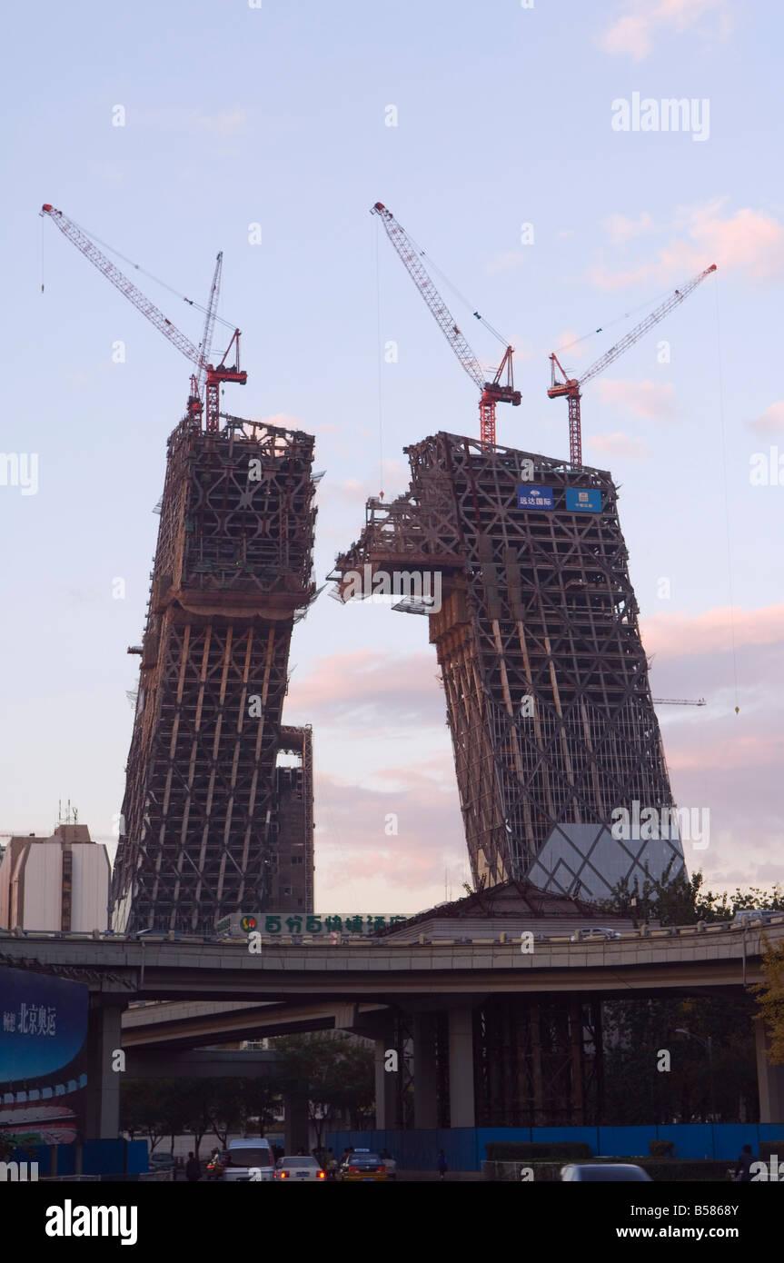 Parzialmente assemblati a guscio di nuovi sistemi TVCC tower building area Guomao, Pechino, Cina e Asia Immagini Stock