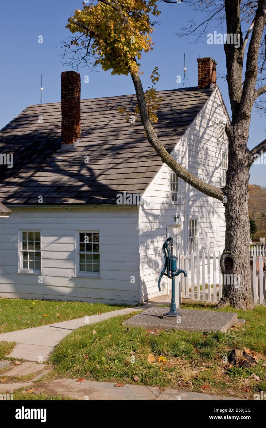 In una vista di tre quarti, la parte posteriore e laterale della casa Hummelbaugh, Gettysburg, Pennsylvania. Immagini Stock