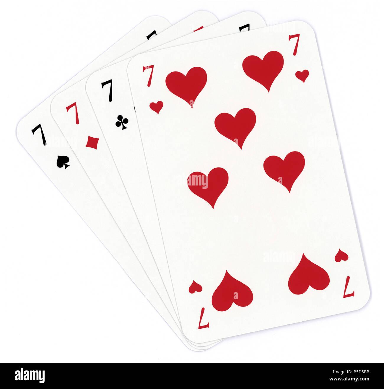 Poker di sette isolati su sfondo bianco Immagini Stock