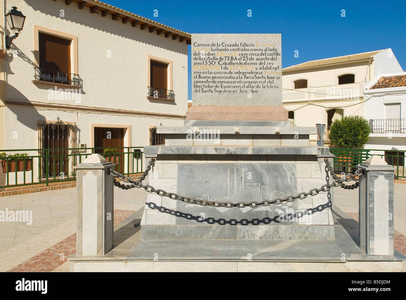Memorial nel villaggio di Teba a Sir James Douglas, Malaga, Andalusia, Spagna, Europa Immagini Stock