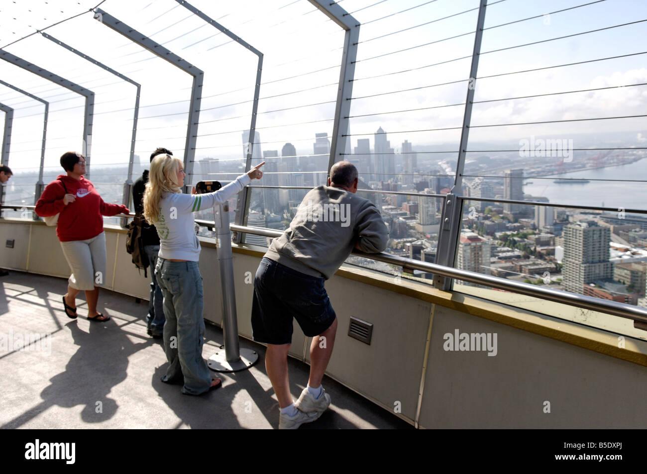 Lo Space Needle, 520 ft tall, Seattle, nello Stato di Washington, USA, America del Nord Immagini Stock