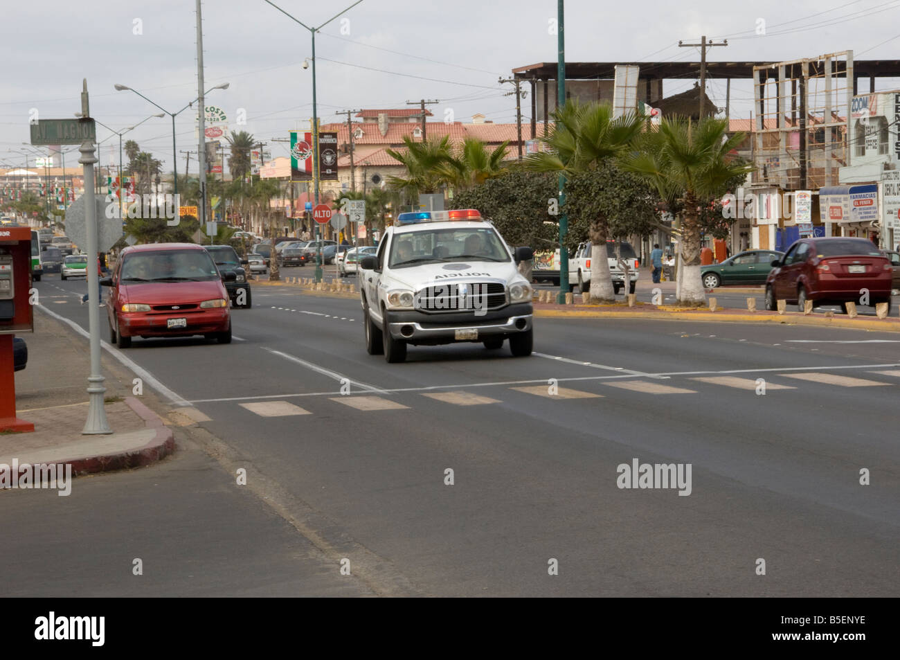 Carrello di polizia in Rosarito Beach Messico Immagini Stock