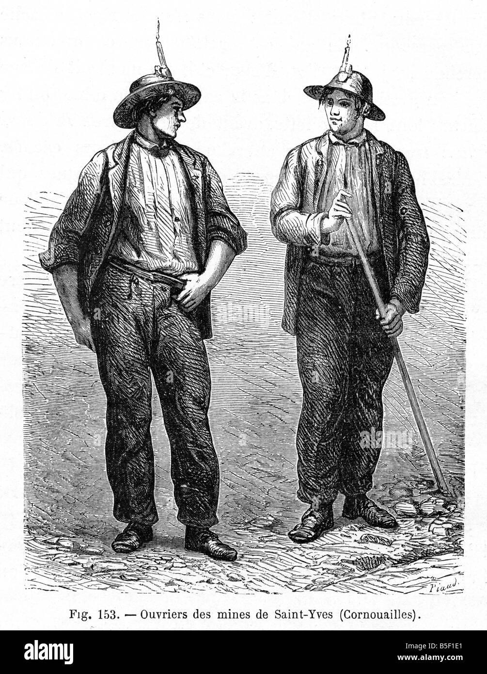 Cornish minatori 1866 incisione da un libro francese di minatori dal St  Ives area della Cornovaglia Foto stock - Alamy