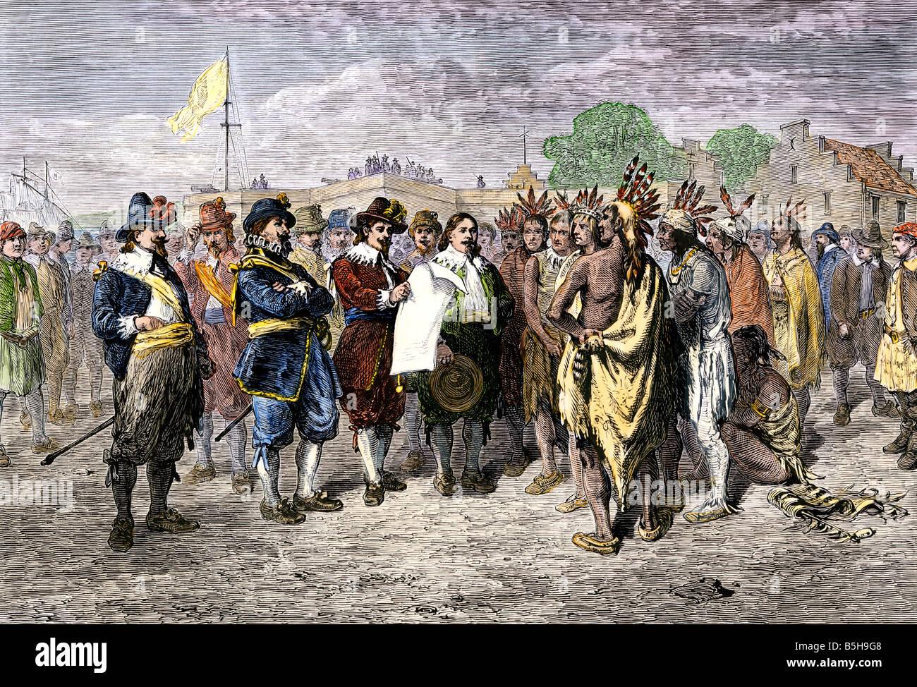 Trattato olandese con Mohawks a Fort Amsterdam 1640s. Colorate a mano la xilografia Immagini Stock