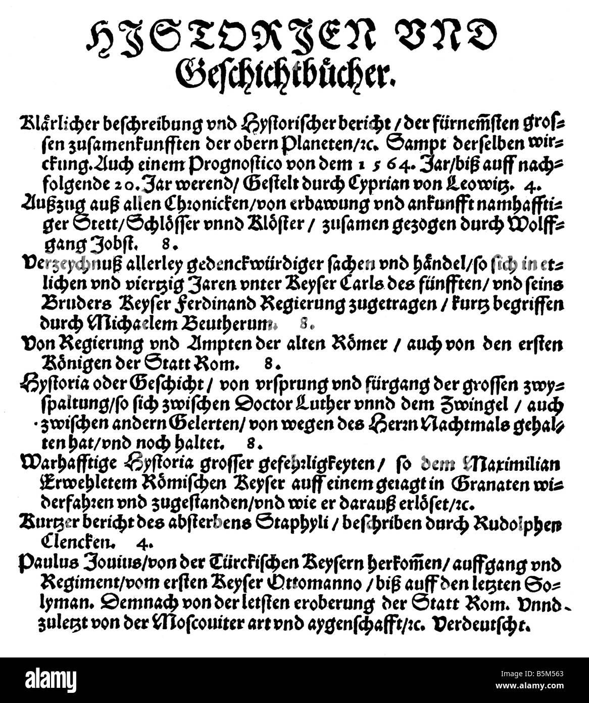 Commercio, commercio di libri, catalogo di Georg Willer, Frankfurt am Main, 1564, recentemente pubblicato libri Immagini Stock