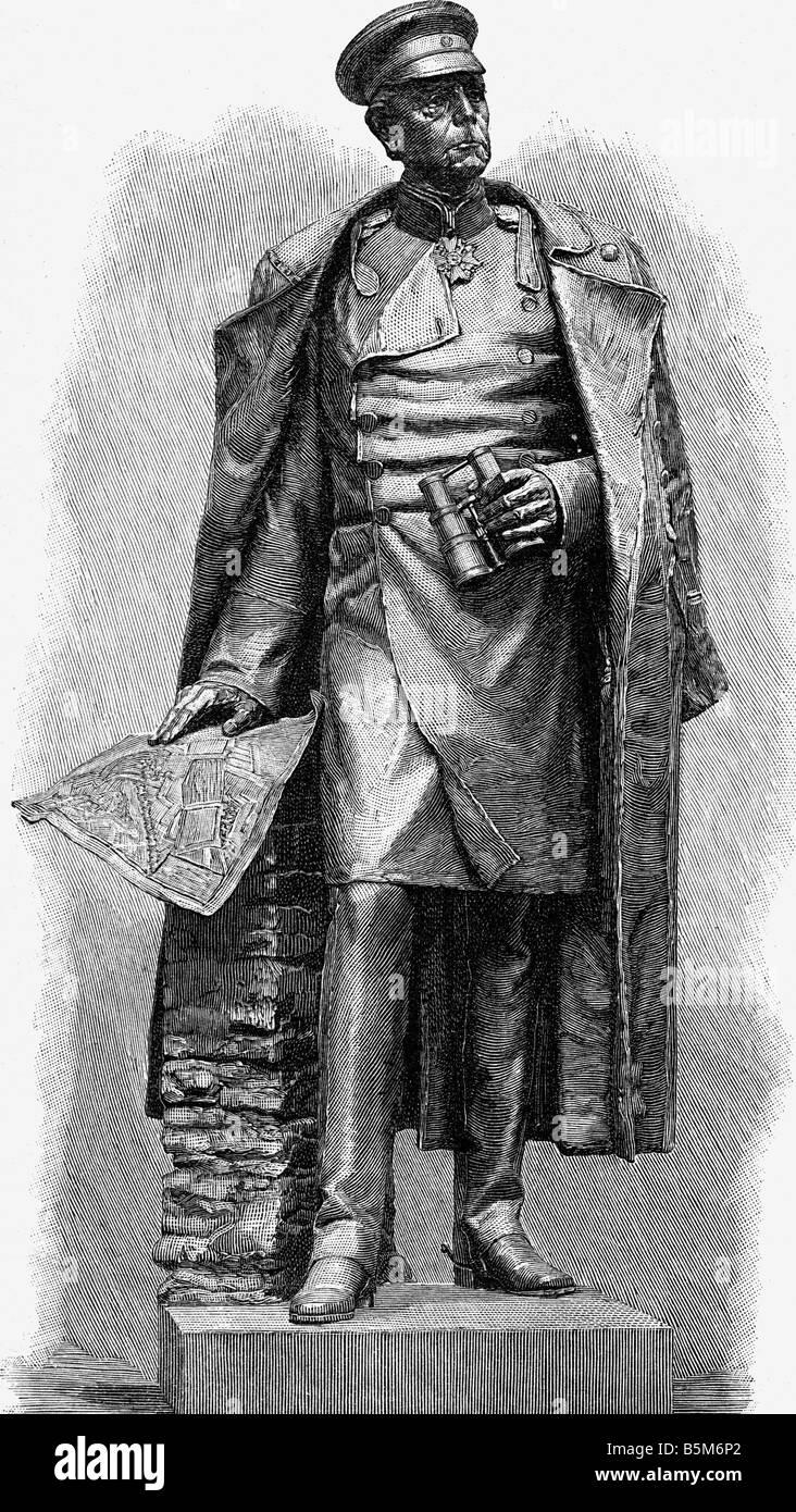 Moltke, Helmuth Karl von, 26.10.1800 - 24.4.1891, generale prussiano, incisione su legno dopo la statua da Ernst Immagini Stock