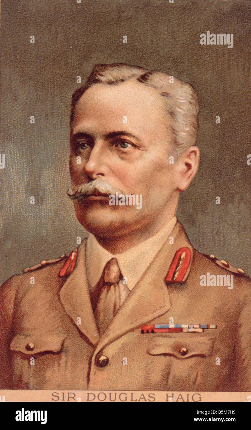 1EN 3843 C1916 e Sir Douglas Haig Col litografia Haig Douglas e il Cavalier Scoiattolino di Brit Maresciallo di Immagini Stock