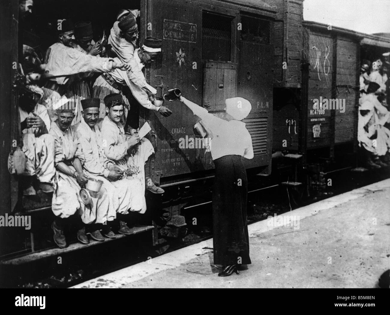 I turchi a Champigny station Foto Storia La Prima Guerra Mondiale la Francia turchi a Champigny stazione prima del Immagini Stock