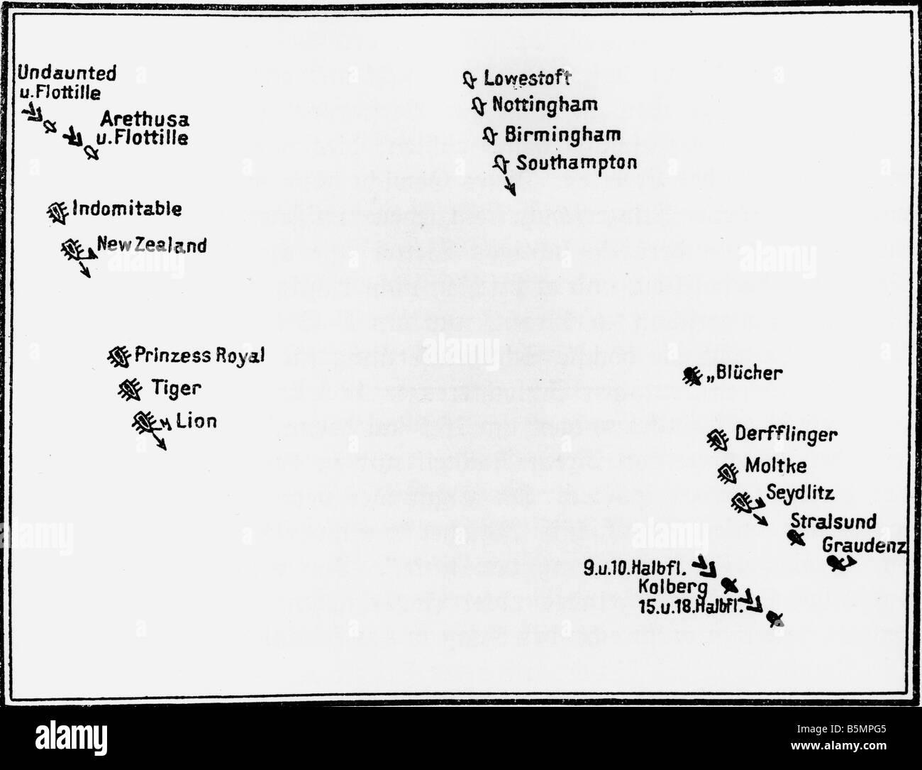 9 1915 1 24 F1 battaglia navale di Helgoland 1915 schizzo Guerra Mondiale 1 1914 18 guerra navale pesanti combattimenti tra tedeschi e britannici in alto mare Foto Stock
