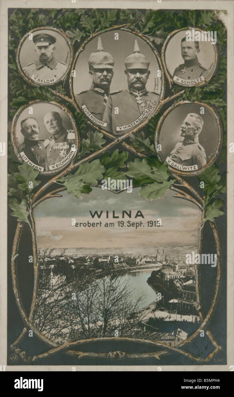 9 1915 9 19 A1 conquista di Vilnius 1915 Prop cartolina Prima Guerra Mondiale 1914 18 anteriore orientale conquista Immagini Stock