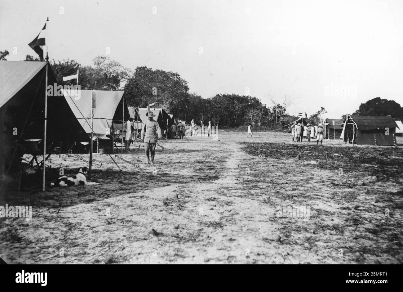 9AF 1914 0 0 A1 3 esercito coloniale tedesca di camp in Africa orientale la Prima Guerra Mondiale la guerra nelle colonie tedesco East Africa oggi Tanzania tedesco Foto Stock