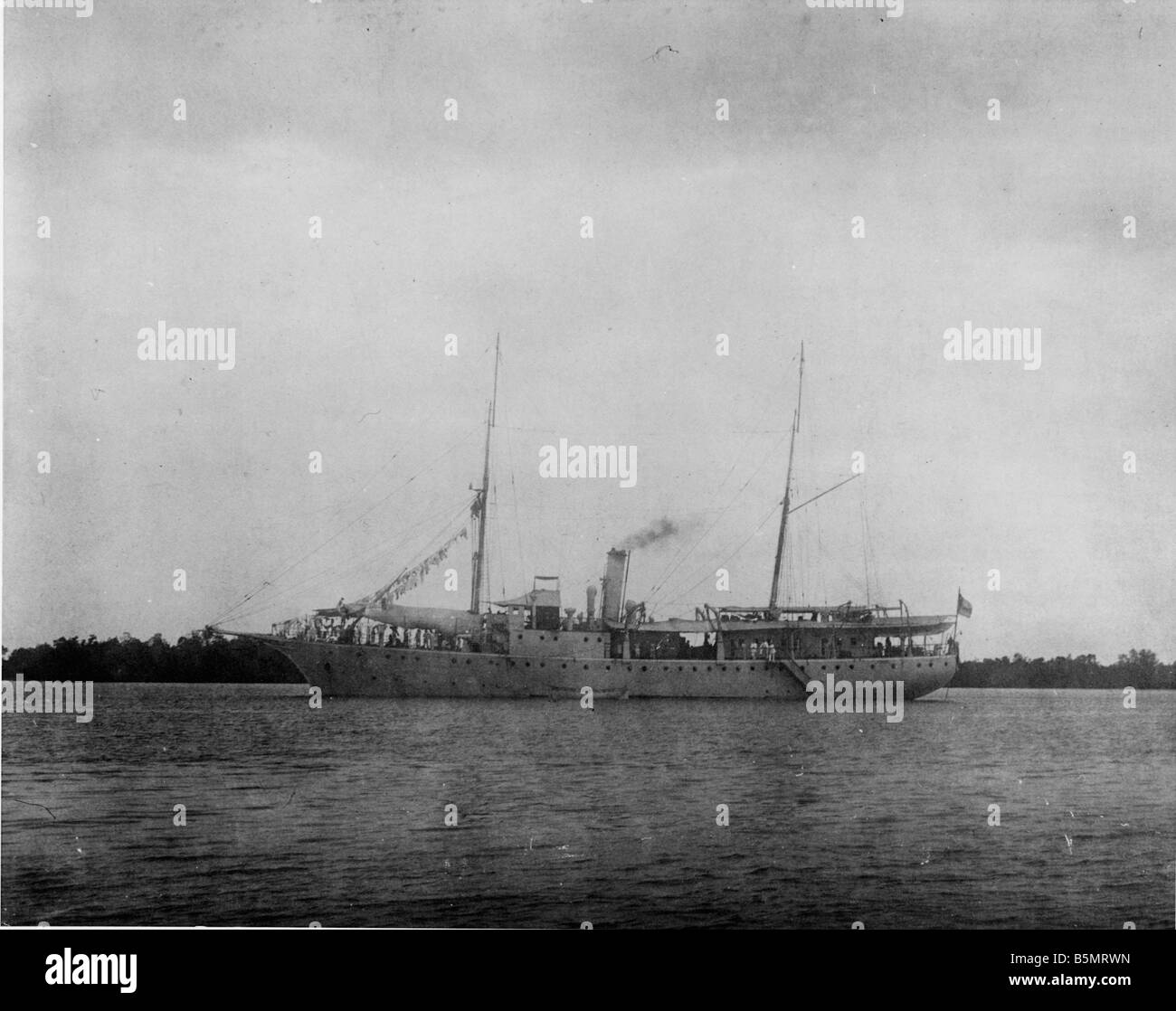 S M S Moewe nella foto Rufidji German East Africa Tanzania ora come una colonia tedesca 1884 1920 S M S Moewe nella foto Rufidji 1914 Foto Stock