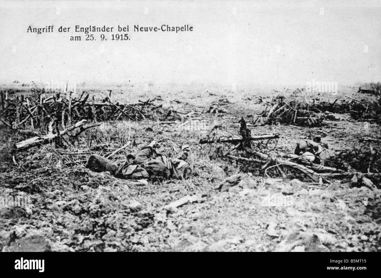 9FK 1915 9 25 A1 WWI Battlefield a Neuve Chapelle I Guerra Mondiale Francia guerra posizionale a Neuve Chapelle Immagini Stock