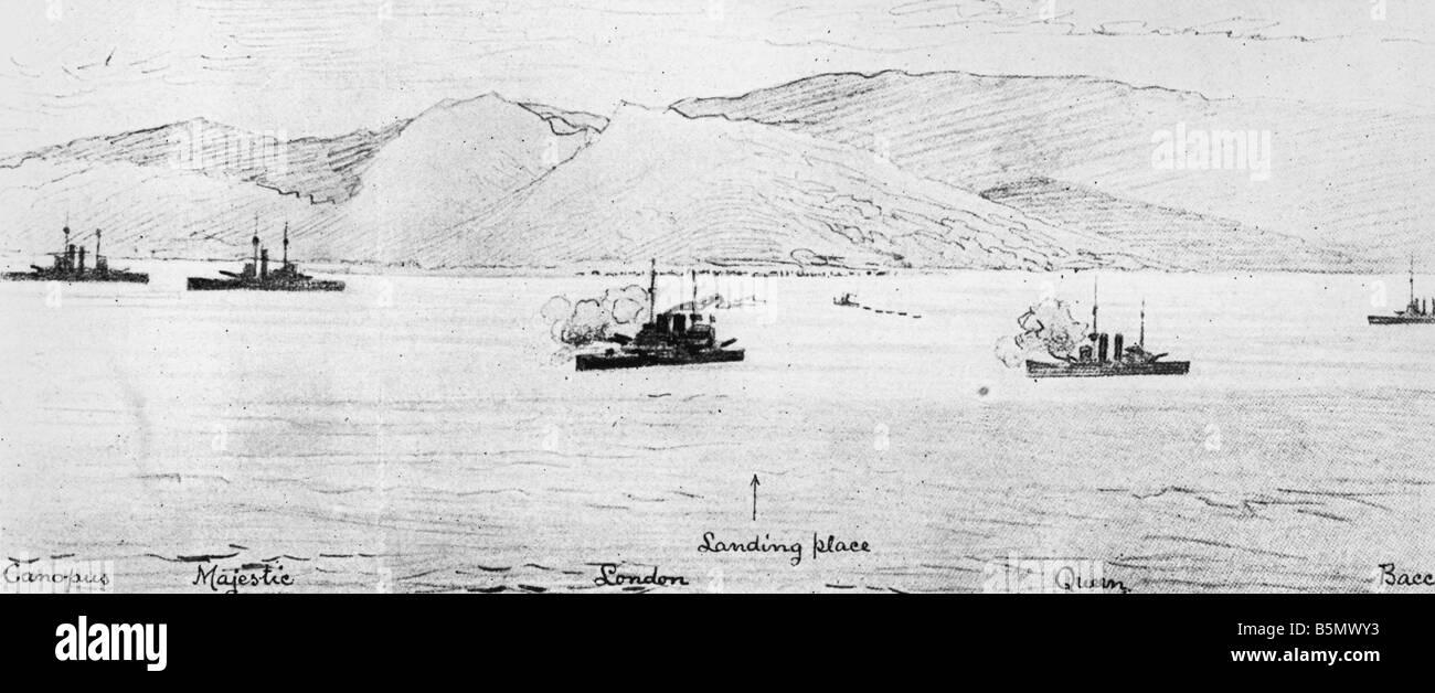 9TK 1915 4 25 F1 Battaglia di Gallipoli 1915 schizzo Guerra Mondiale 1 Guerra nel Vicino Oriente tentativo di sbarco Immagini Stock