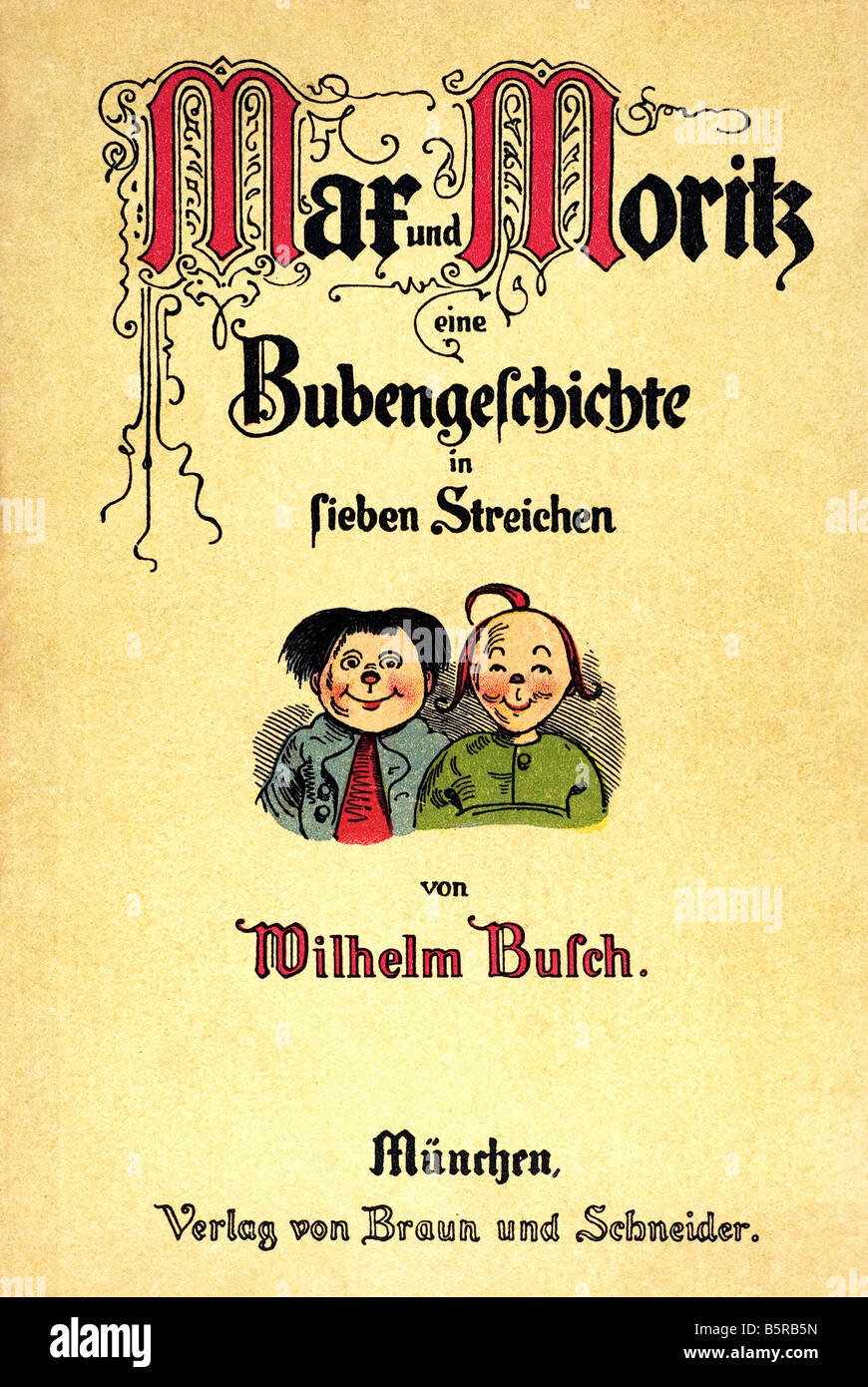 Titel Max e Moritz una storia di sette fanciullesco scherzi Heinrich Christian Wilhelm Busch 1865 Immagini Stock