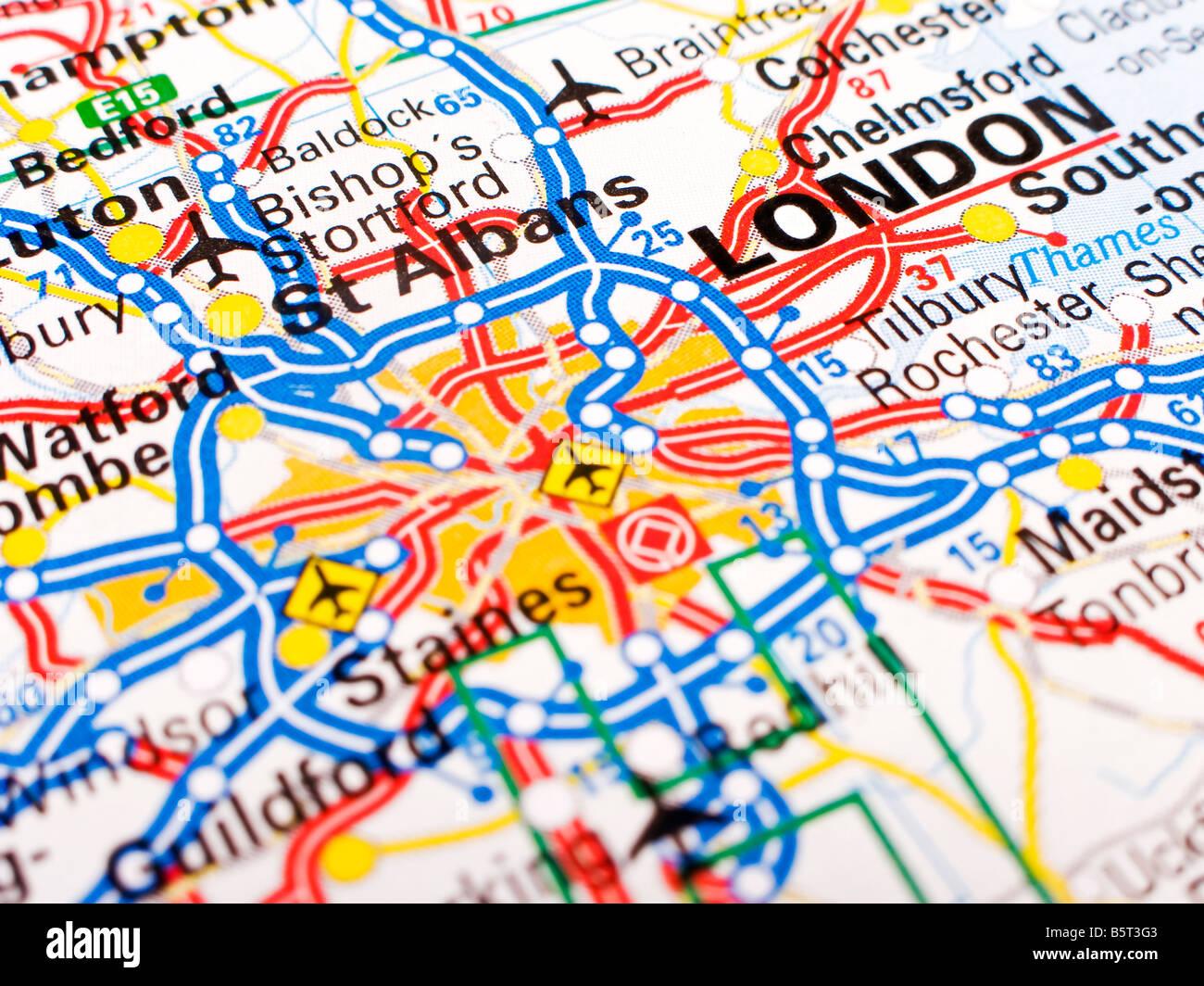 Cartina Stradale Londra.In Prossimita Di Una Cartina Stradale Di Londra Foto Stock Alamy