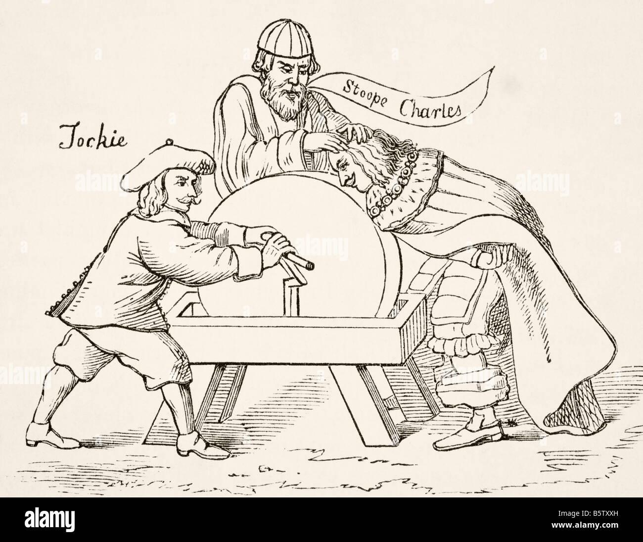 Il re Carlo I di Inghilterra sulla mola di presbiteriana scozzese intolleranza un cartone animato da 1651 Immagini Stock