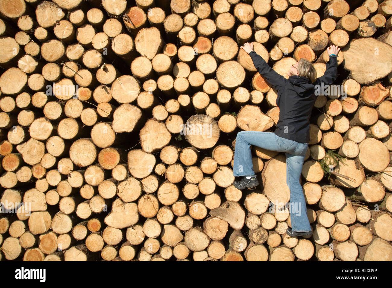 Donna salendo su una pila di registri ad albero Immagini Stock