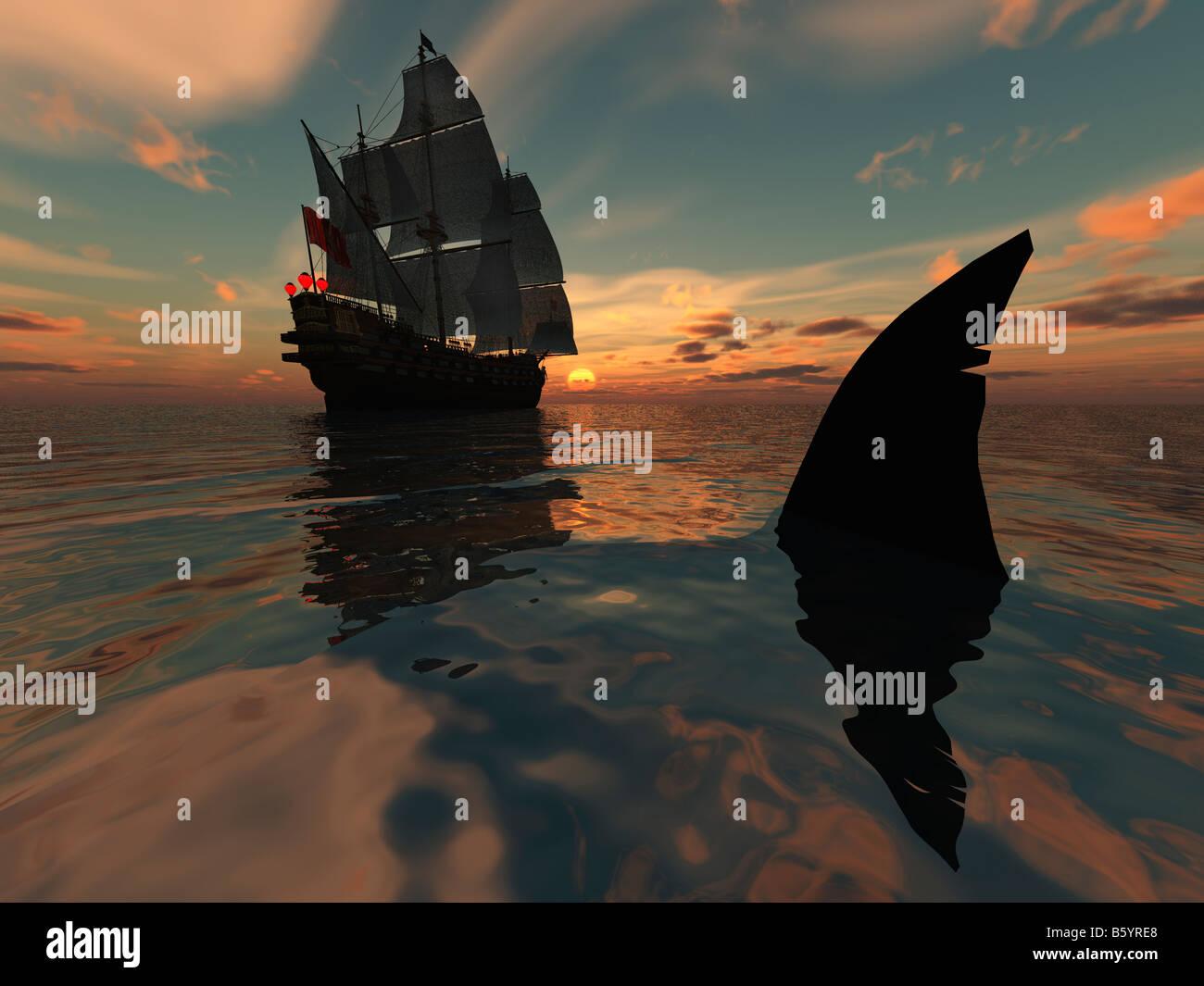 Silent Hunter la pinna dorsale di uno squalo di grandi dimensioni a seguito di un diciottesimo secolo galeone Immagini Stock