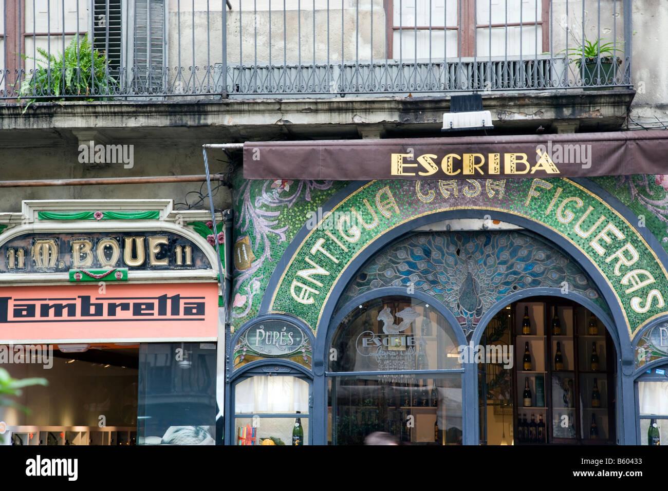 Spagna Barcelona Ramblas Barri Gotic Antigua Casa Figueras facciata cioccolatiere Immagini Stock
