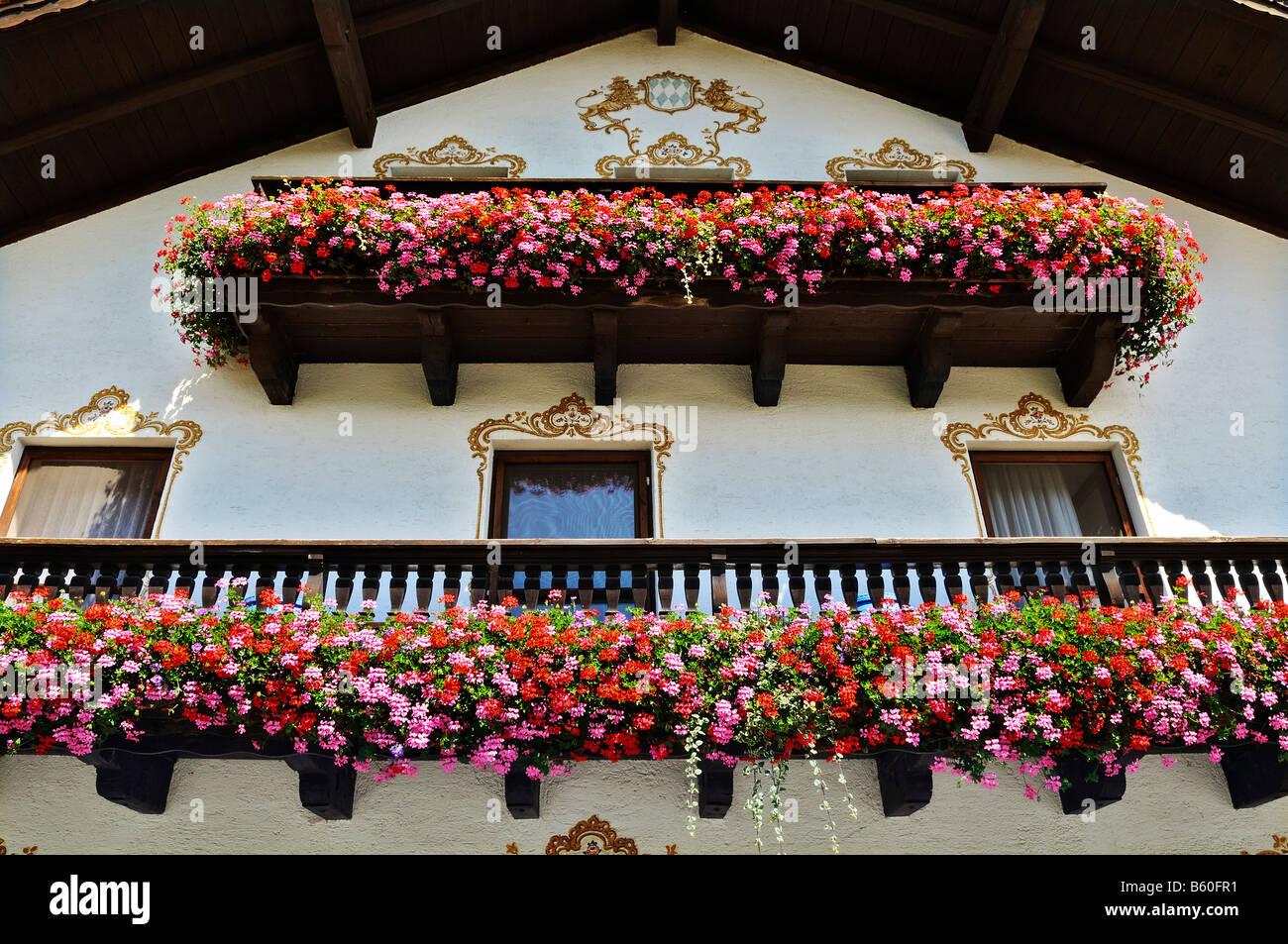 Casa tradizionale con balconi adornati con un abbondanza di gerani (Pelargonium zonale) vicino a Monaco di Baviera Immagini Stock