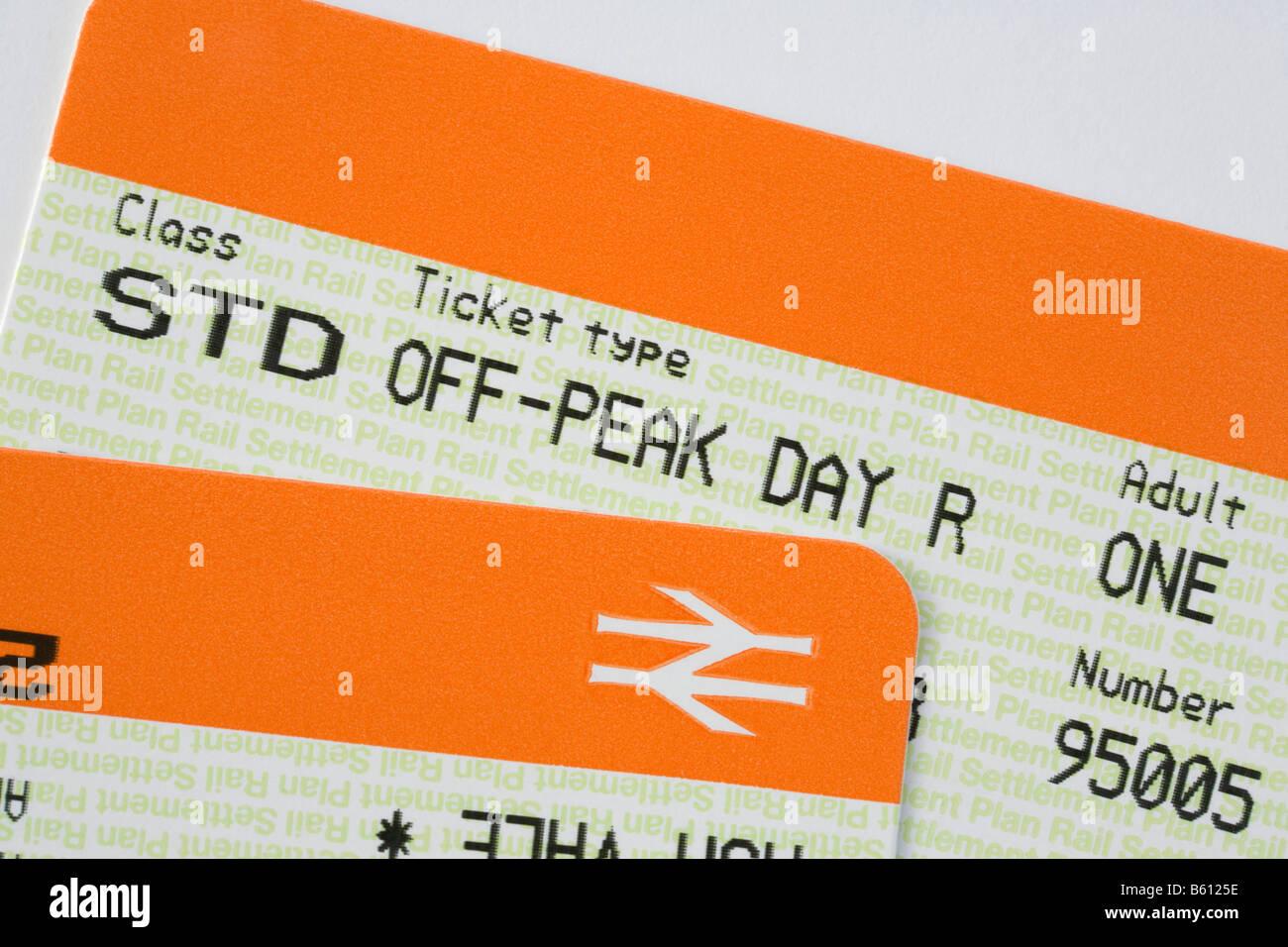Rete di biglietti ferroviari per Standard off-peak viaggi economici giorno ritorno. Inghilterra Regno Unito Gran Immagini Stock