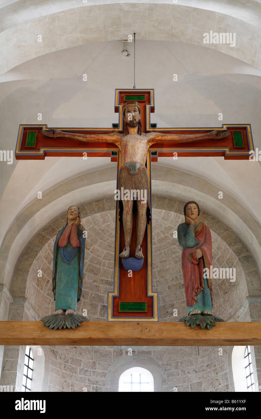 """Crocifisso, """"Grosser Gott von Altenstadt', in San Michele Basilica, centro storico di Pfaffenwinkel, Alta Immagini Stock"""