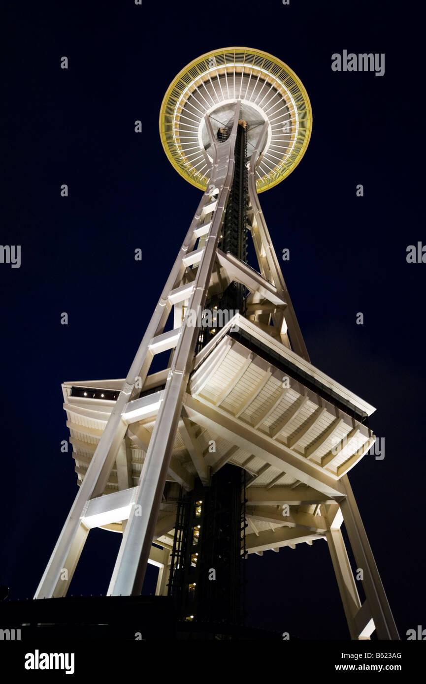 Lo Space Needle di notte, Seattle, Washington, Stati Uniti d'America Immagini Stock