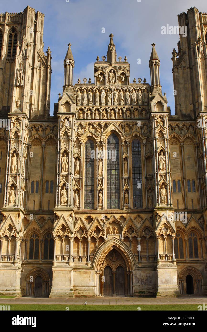 Cattedrale di Wells West anteriore sezione centrale Immagini Stock