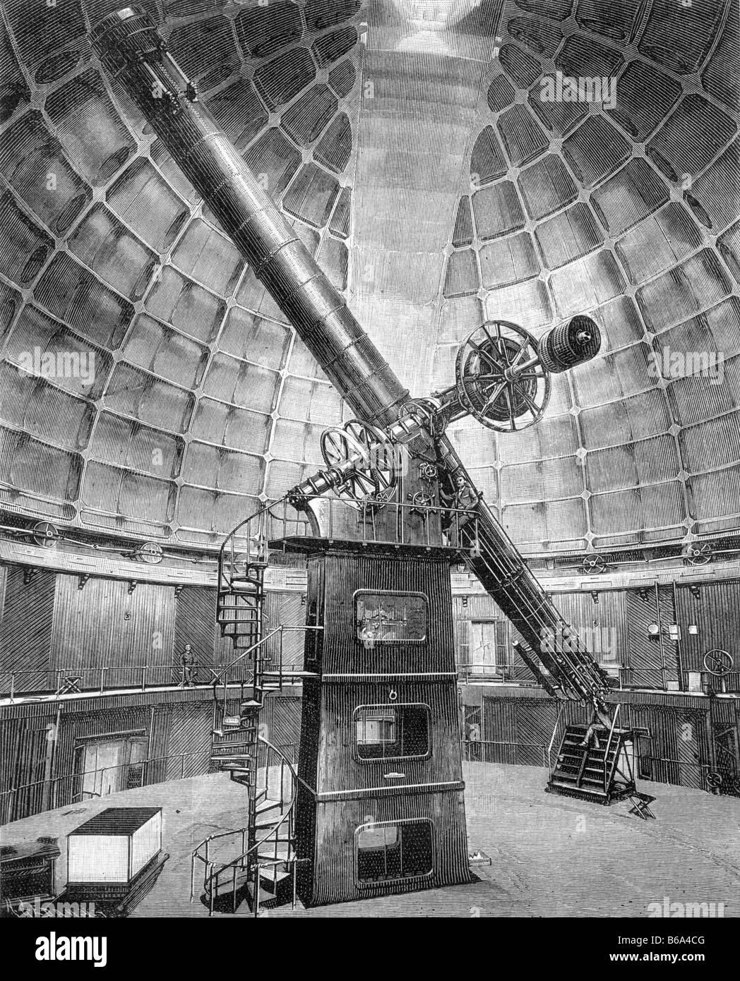 Leccare Osservatorio incisione telescopio circa 1890 San Jose California Immagini Stock