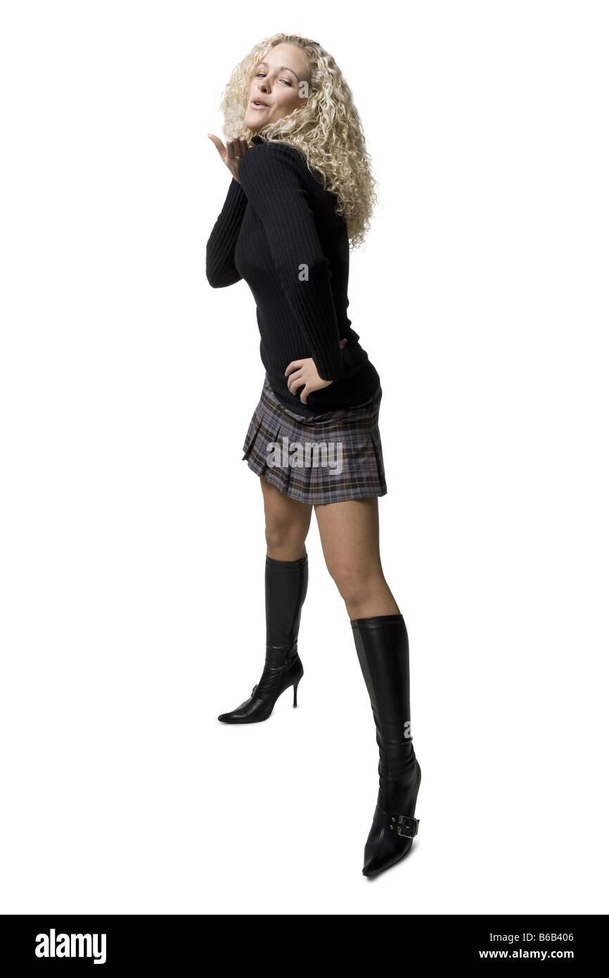 Donna con capelli ricci Immagini Stock