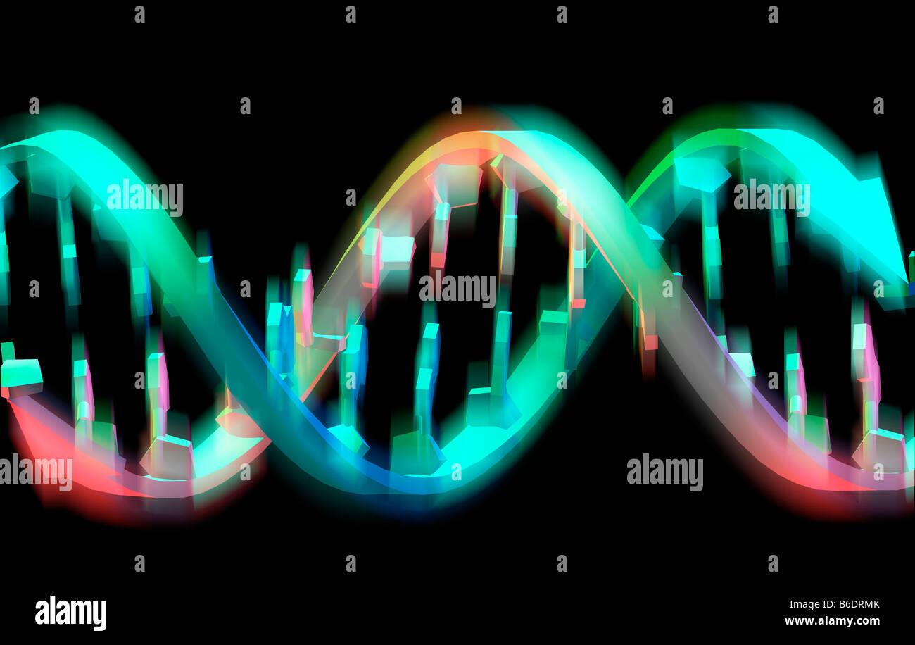 Elica di DNA. Illustrazione di computer di una parte di un filamento di DNA. Immagini Stock