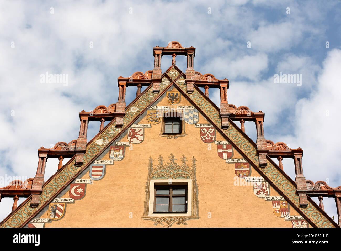 La facciata del municipio di Ulm, Baden-Wuerttemberg, Germania, Europa Foto Stock