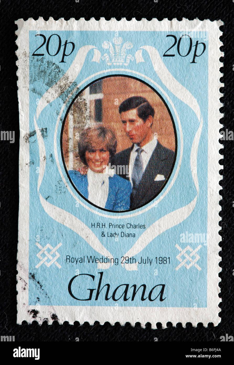 Matrimonio del principe Charles e Lady Diana 29 luglio 1981, francobolli, Ghana, 1981 Foto Stock
