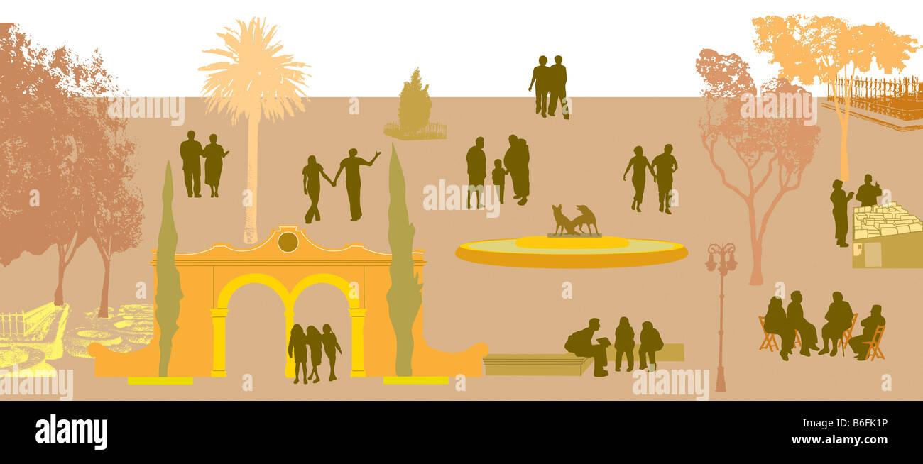Illustrazione, della città e del traffico di persone Immagini Stock