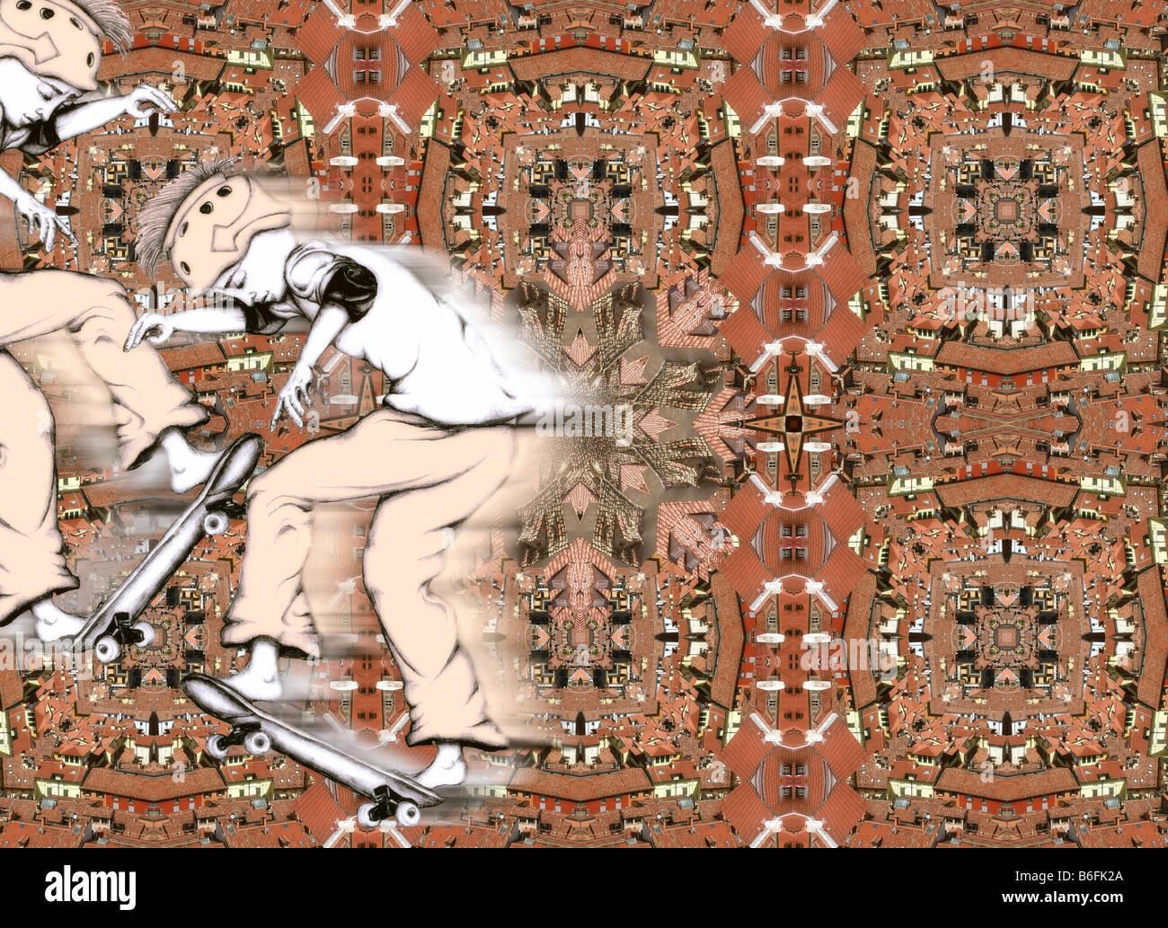 Illustrazione, skater astratto Immagini Stock
