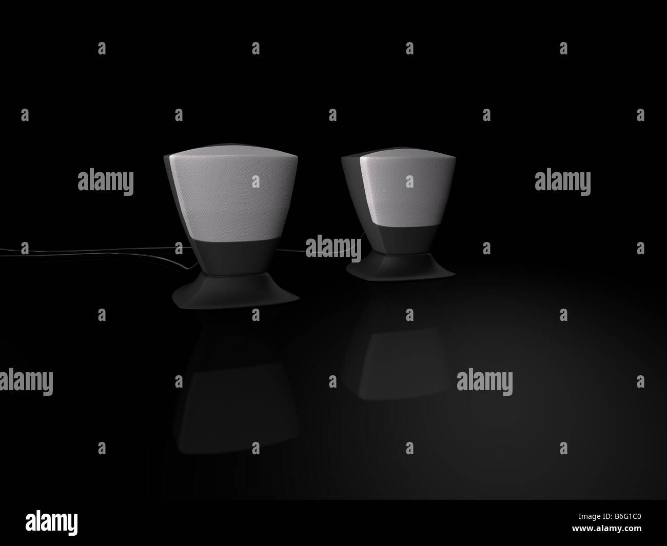 Altoparlante nera su sfondo nero Foto Stock