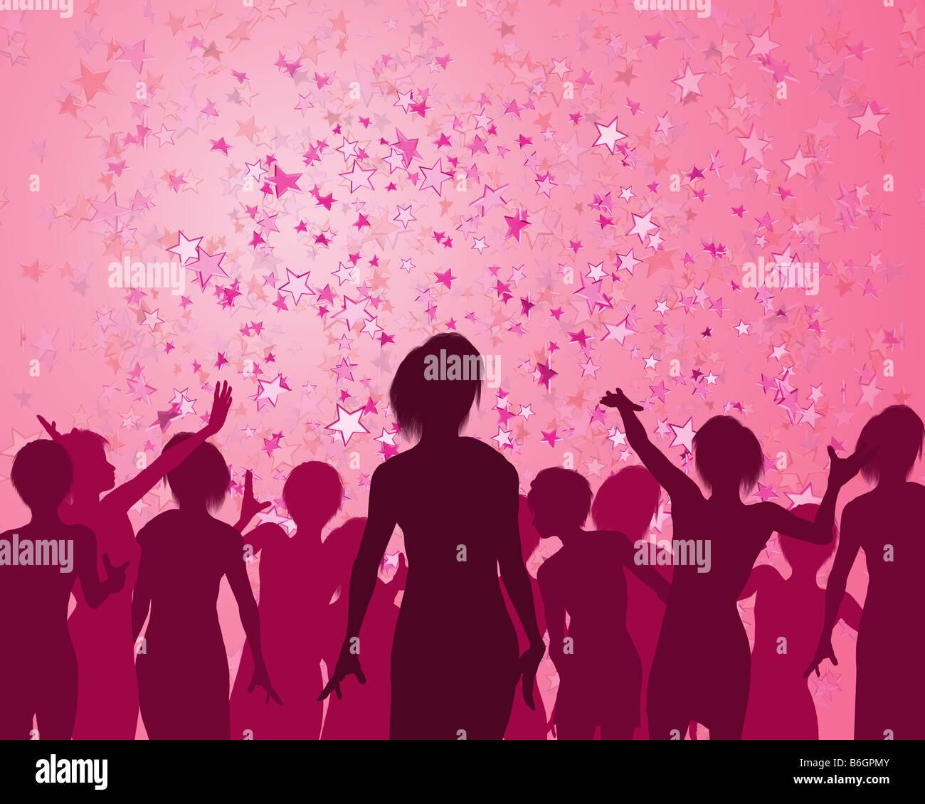 Illustrazione di un ragazze godendo di un favoloso party Immagini Stock