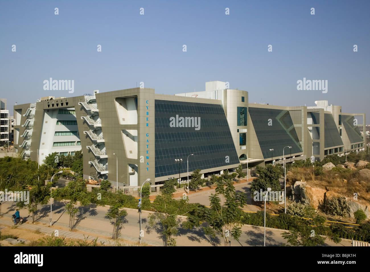 INDIA Andhra Pradesh, Hyderabad: Hitec City, centro importante di Indian Software Call Center industria. Cyber edificio Immagini Stock