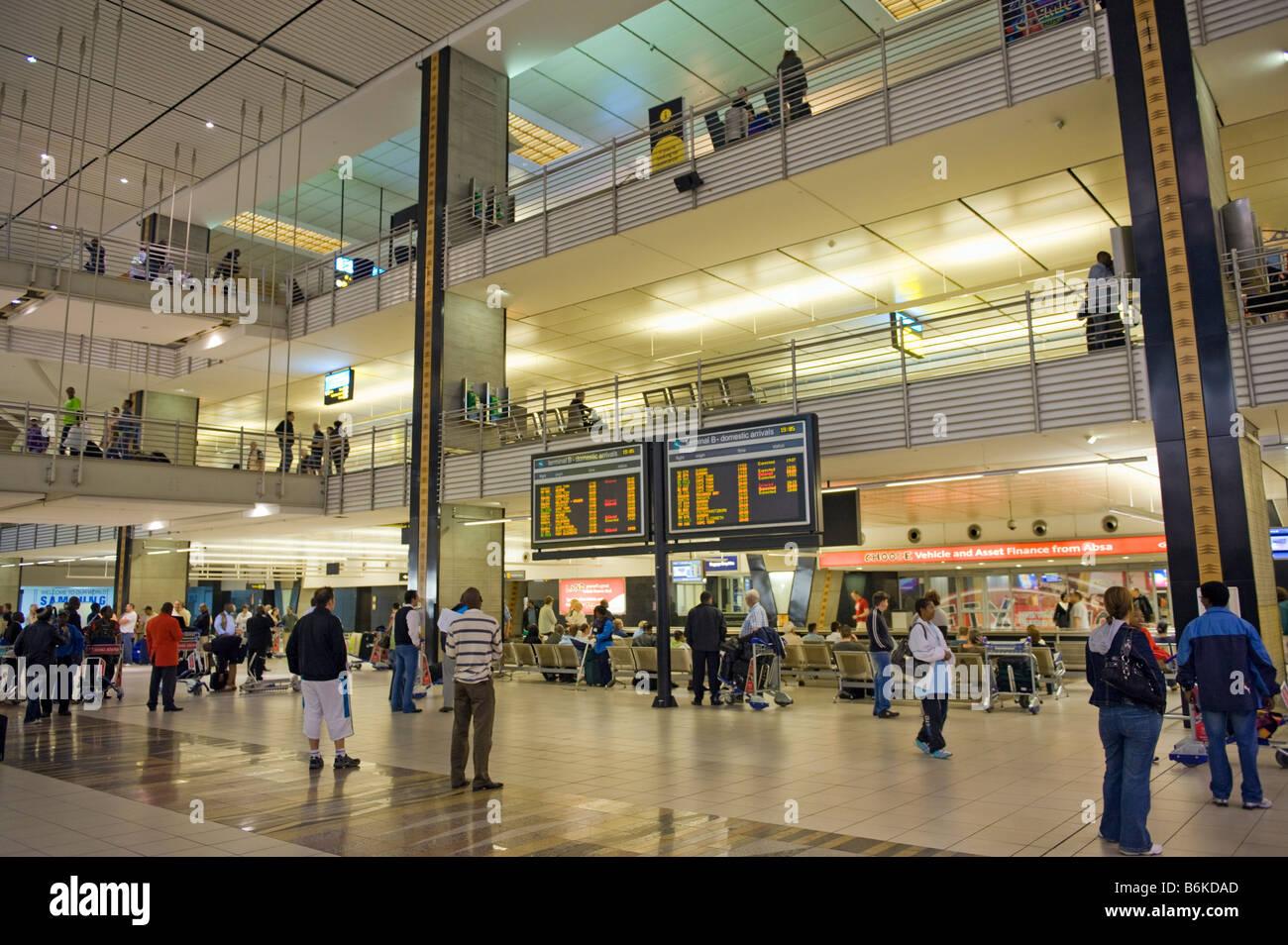 Aeroporto internazionale di Jo-burg JNB Johannesburg sud-Afrika sud africa cartello desk segno bordo arrivo partenza Immagini Stock