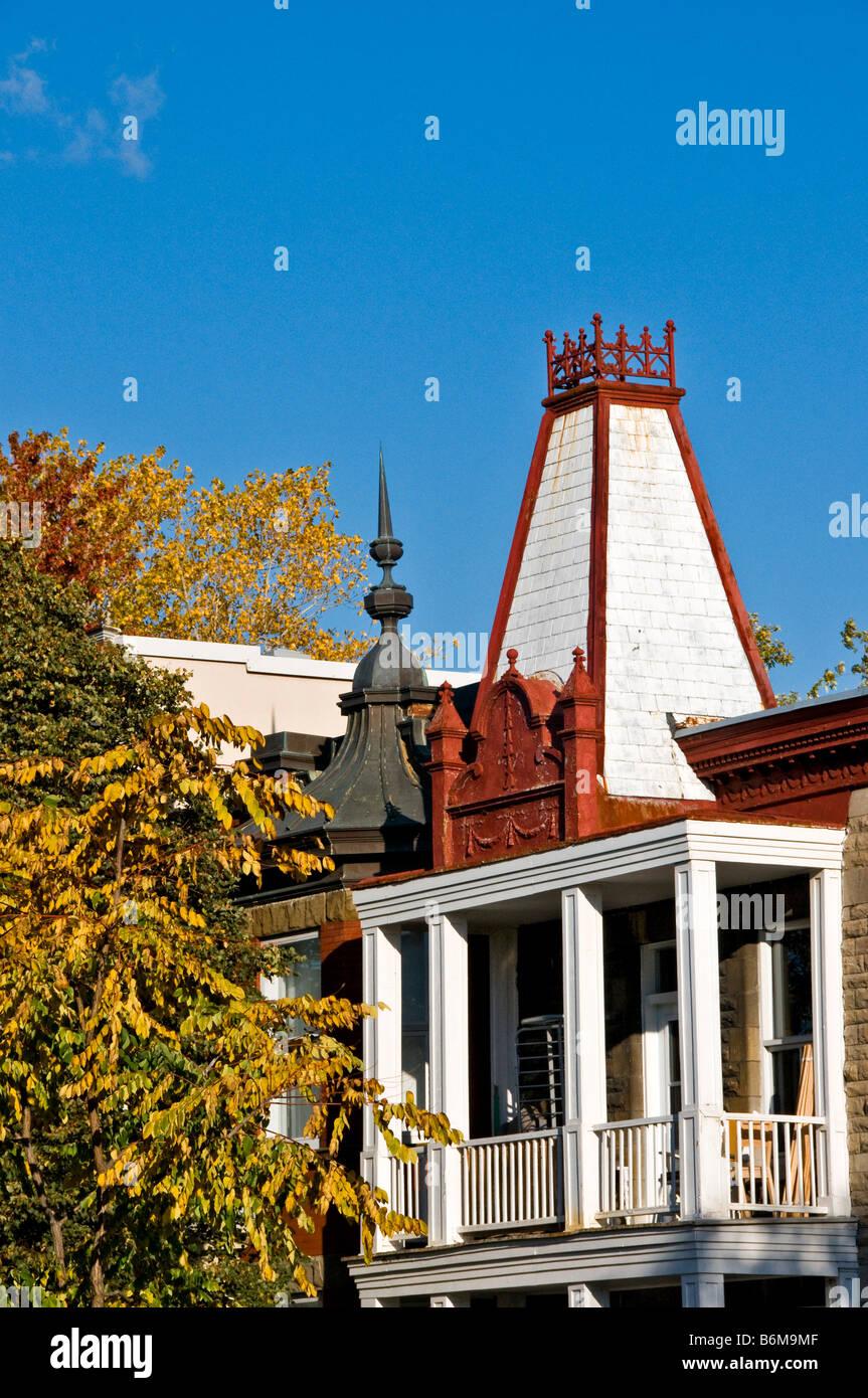 Boulevard Saint Joseph tipica architettura di Montreal, Canada Immagini Stock