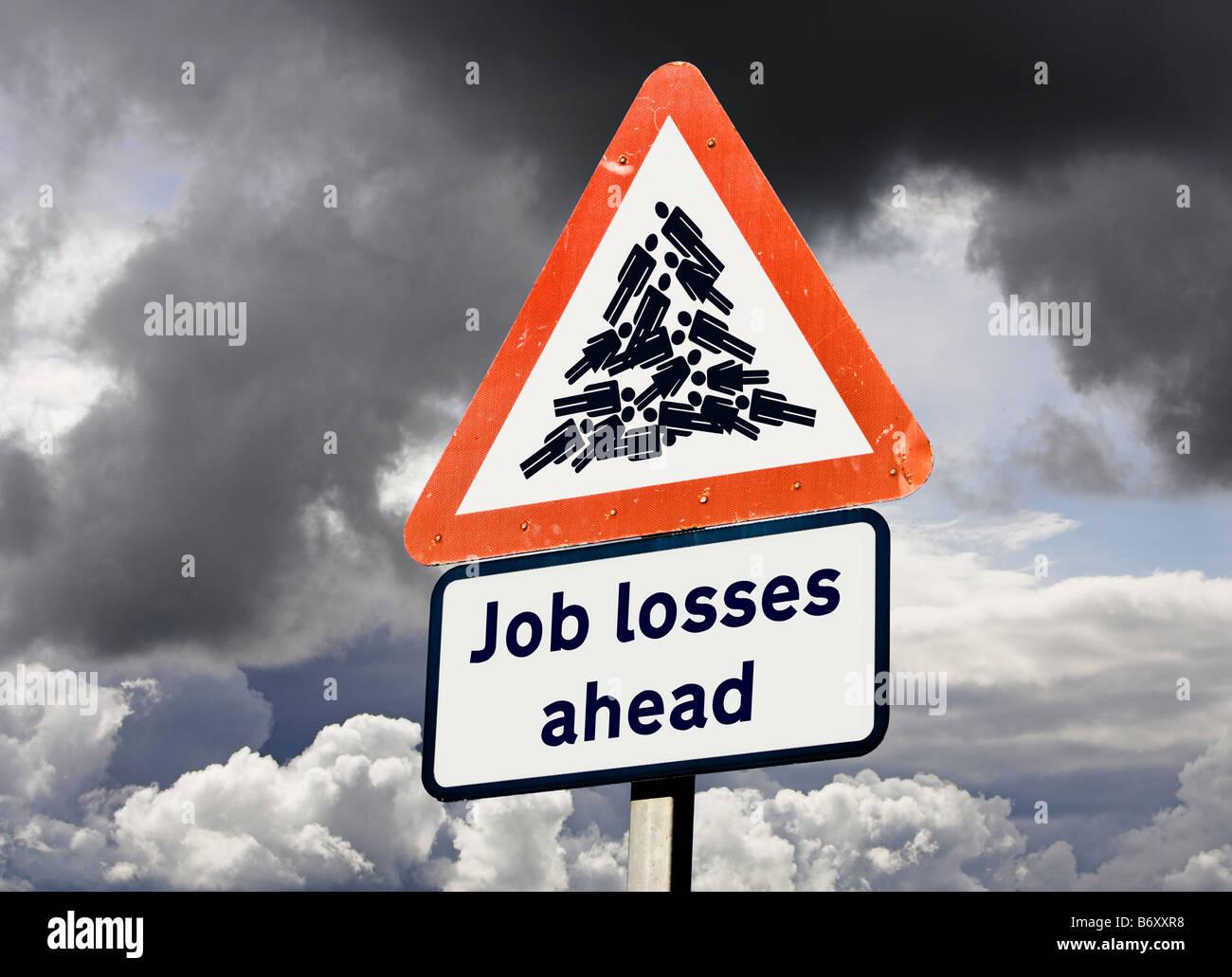 Economia disoccupazione avviso di tagli di posti di lavoro concetto Regno Unito - Le perdite di posti di lavoro Immagini Stock
