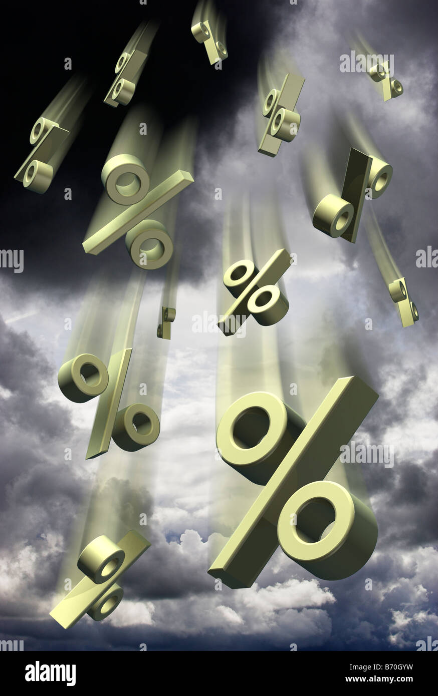 Percentuale di interesse tasso percentuale simboli che cade contro un cielo tempestoso - composito digitale Immagini Stock