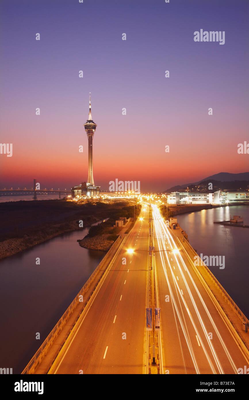 Torre di Macau al tramonto Immagini Stock
