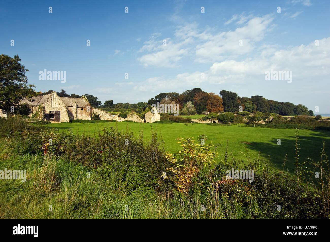 Le rovine dell'abbazia cistercense vicino Quarr Abbey, Ryde. Foto Stock