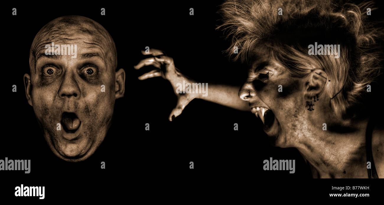 Attacco del vampiro, fantasia Immagini Stock