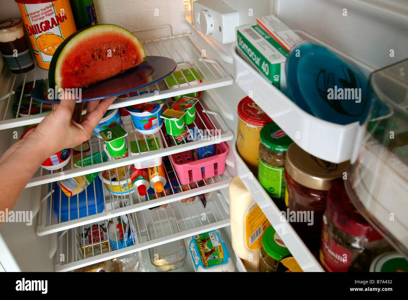 Donna mettendo il cibo in frigo in cucina Immagini Stock