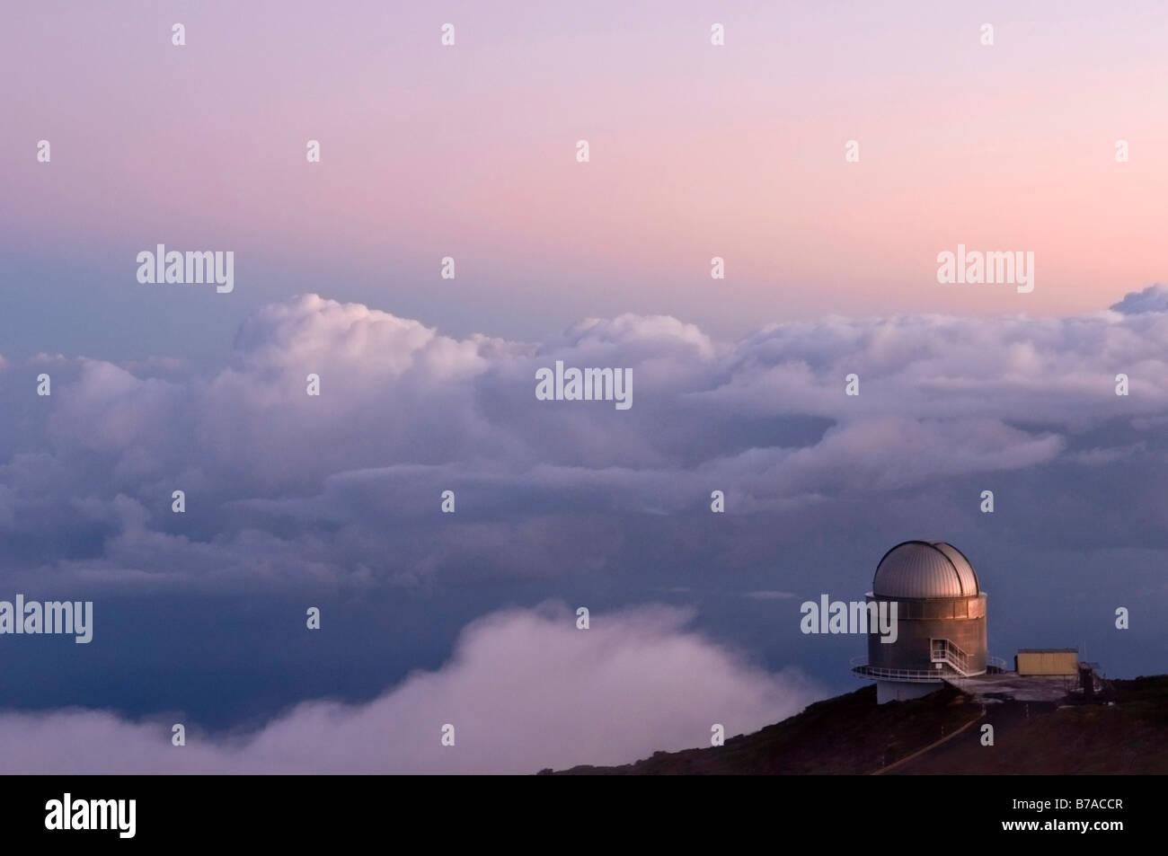 Osservatorio al tramonto, Roque de los Muchachos, La Palma Isole Canarie Spagna, Europa Immagini Stock