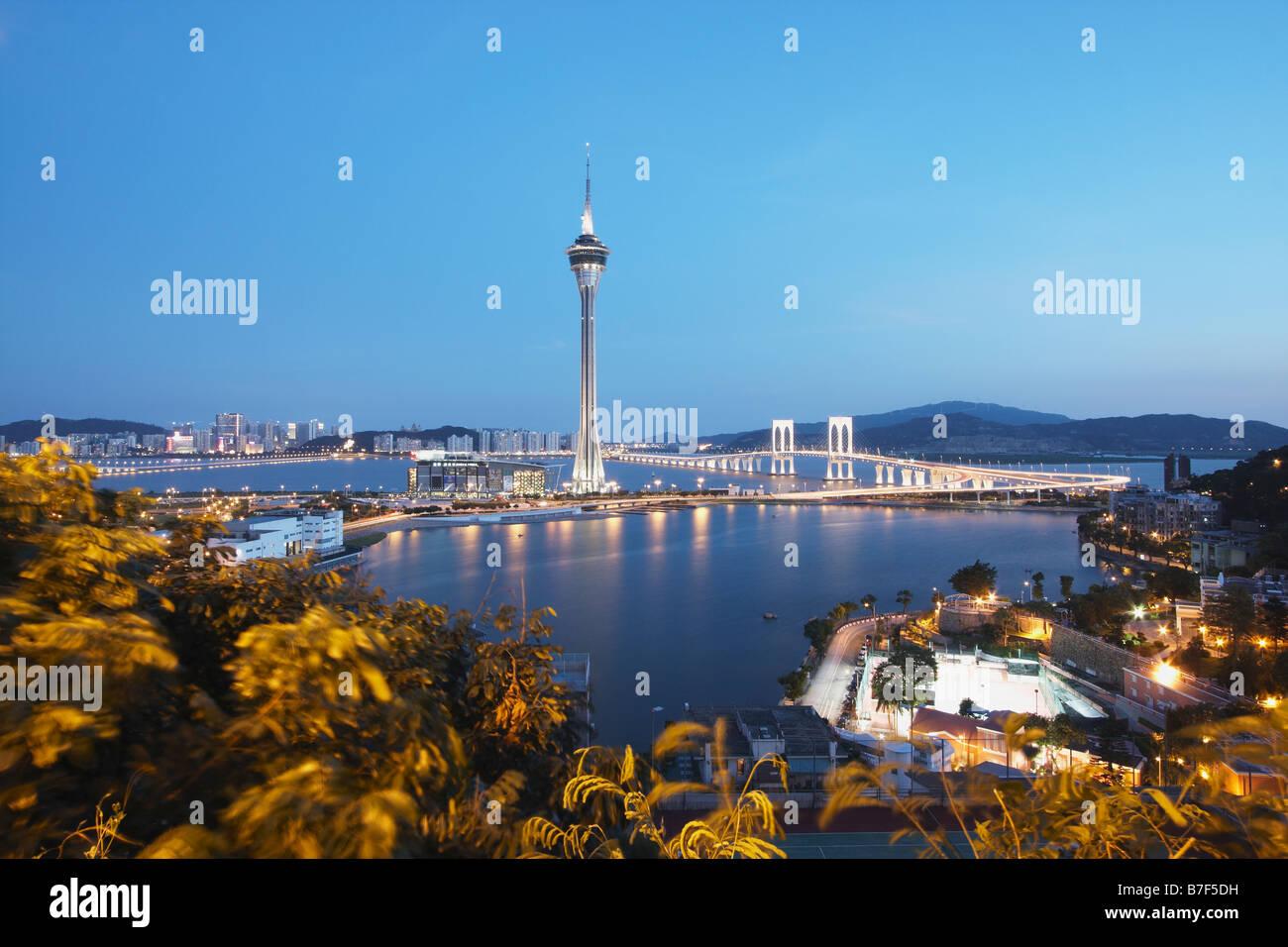 Torre di Macau al crepuscolo, Macao Immagini Stock