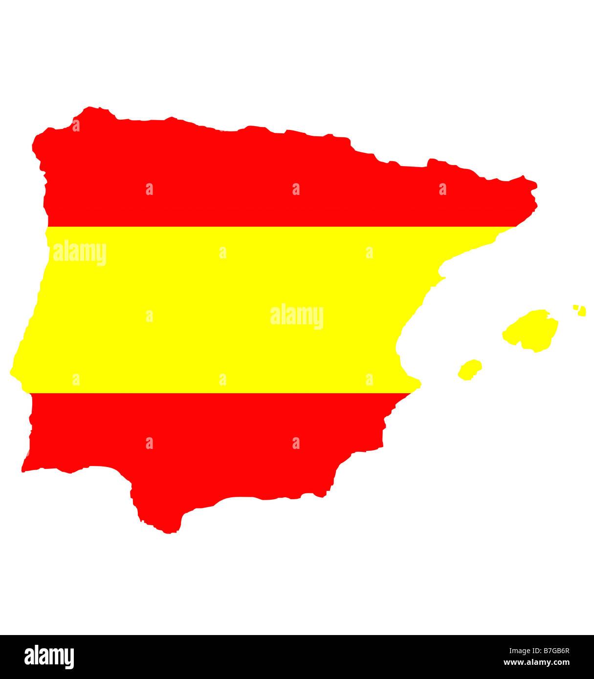 Spagna E Isole Baleari Cartina.Mappa Di Contorno Di Spagna E Isole Baleari Isolato In Colori Della Bandiera Foto Stock Alamy